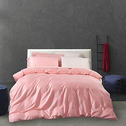 ON SALE Solid Pink Luxury Queen Duvet Cover Set Egyptian Cot