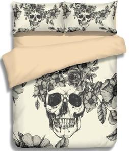 Skull Floral Black Beige Queen Duvet Comforter Cover 3-piece