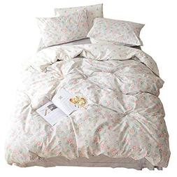 HIGHBUY Soft Cotton Twin Duvet Cover Sets for Kids Girls Flo