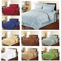Soft Embossed Dobby Stripe 8PC Bed In Bag Comforter Sheet Se