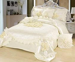 Tache 6 Piece Solid Floral White Sweet Victorian Satin Comfo
