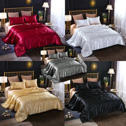 Solid Santin Silk Like Quilt Comforter Set Ultra Soft Doona