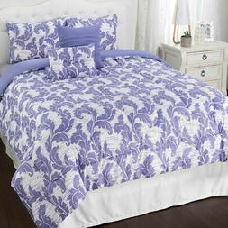 """Cozelle """"Spencer"""" Reversible 4-Piece Comforter Set in Lilac"""
