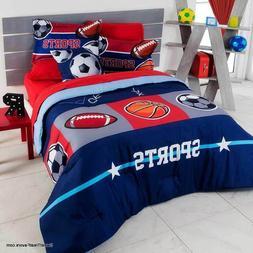 SPORTS Boy Comforter Navy Blue Football Soccer TEENS COOL Gi