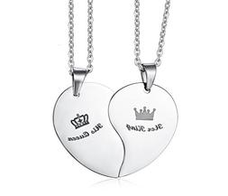 Stainless Steel Heart Puzzle His Queen Her King Crown Couple
