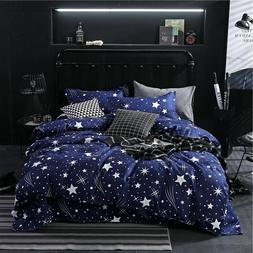 Star Owl Plaids 4pcs Bed Cover <font><b>Set</b></font> Carto