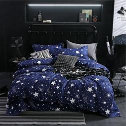 Star Owl Plaids 4pcs Bed Cover <font><b>Set</b></font> Carto