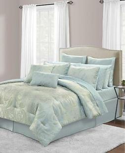 Sunham Stella QUEEN Comforter Set Ice Blue Silver Damask Pai