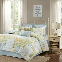 Cape May 8 Piece Cotton Comforter Set Blue/Green Queen