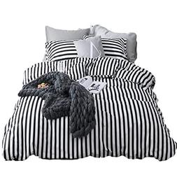 CLOTHKNOW Stripe Full/Queen Duvet Cover Sets White and Black