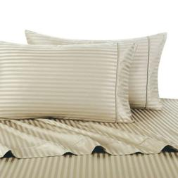 Deluxe' Striped Bed Sheet Set 100 Percent Egyptian Cotton