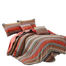 Best Striped Classical Cotton 3-Piece Patchwork Bedspread Qu