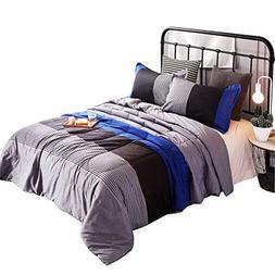 YOUSA 3-Piece Striped Quilt Set Boys Bedspreads/Coverlet Set