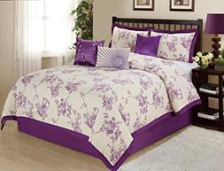 7 Piece SUNRISE Floral Printed Comforter Set Queen King CalK