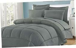 Sweet Home Collection 8 Piece Bed In A Bag with Dobby Stripe