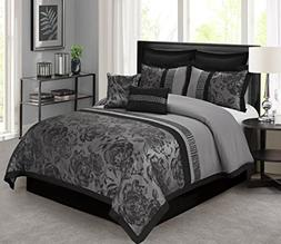 8 Piece Tang Jacquard Fabric Patchwork Comforter Set Queen K