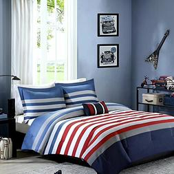 Teen Boys Bedding Comforter Rugby Stripe Nautical FULL QUEEN