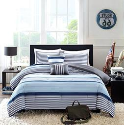 Teen Boys Bedding Rugby Stripe Blue Gray White Green Twin /