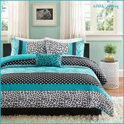 Teen Girl Turquoise Black Comforter Set Twin/Twin XL Polka D
