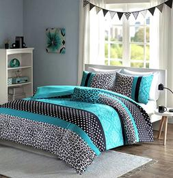 Teen Girls Black Teal Bedding Comforter Damask Leopard FULL