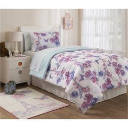 Teen Girls Purple Lavender Paris 5 Piece Comforter Set, Twin