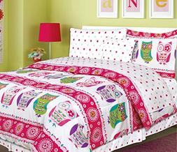 Teen Tween Girls Kids Bedding 7 Piece OWL Bedding Twin size