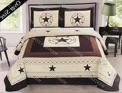 Texas Star Barbed Wire Western Style Quilt Bedspread Comfort