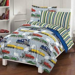 Trains Boys Kids Full Comforter Sheets & Set