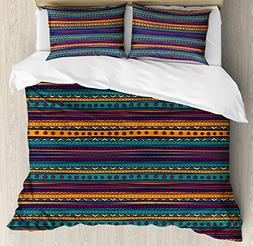 Ambesonne Tribal Duvet Cover Set King Size, Striped Retro Az