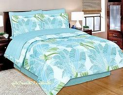 TROPICAL COASTAL BEACH OCEAN BLUE LIME PALM TREE LEAF 6-8p C