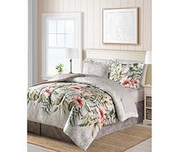 Tropical Palm Leaves Hawaiian Beach Queen Comforter Set  + H