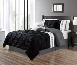 Grand Linen 5 Pieces TWIN size BLACK/GREY/GRAY Double-Needle