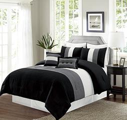 6 Piece TWIN Size BLACK / WHITE / GREY Pin Tuck Stripe Regat
