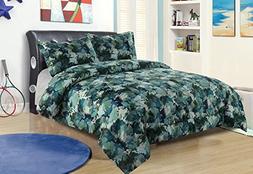 Twin Camo Boys Bedding Comforter Bed Set Blue Green Army Hun