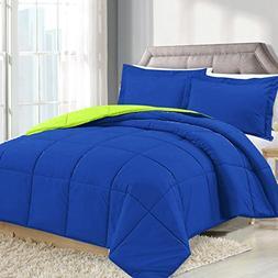 Queen Comforter Reversible Duvet Insert - Royal Blue/Lime Gr