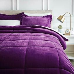 Twin Full Queen Bed Solid Plum Purple Faux Fur Sherpa Soft 3