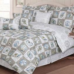 Twin Full Queen King Bed Blue Taupe Tan Brown Seashells Beac