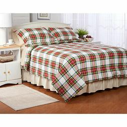 Twin Full Queen King Bed Red Green White Plaid Holiday 3pc F