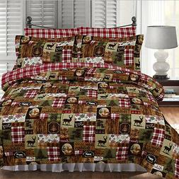Twin Full Queen King Bed Red Green Brown Lodge Holiday 3pc F