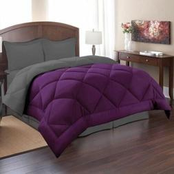 Twin Full Queen King Bed Solid Purple Gray Reversible 3 pc C