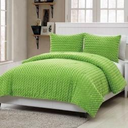 Twin Full Size Bed Solid Green Faux Fur Soft Plush 3 pc Comf
