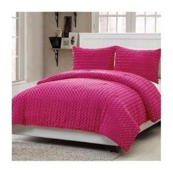 Twin Full Size Bed Solid Hot Pink Faux Fur Soft Plush 3 pc C