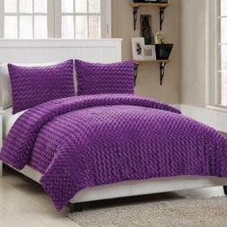 Twin Full Size Bed Solid Purple Faux Fur Soft Plush 3 pc Com