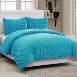 Twin Full Size Solid Aqua Blue Faux Fur Soft Plush 3 pc Comf