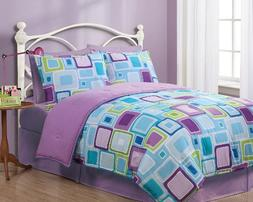KingLinen Twin Geo Aqua Square Reversible Comforter Set