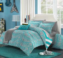 Twin or Full Size Comforter Set Bedding Teens Aqua Blue Shee