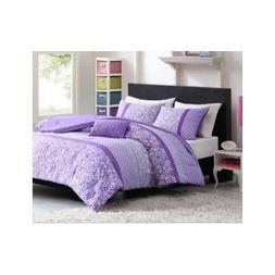 Twin Xl Purple Polka Dot Paisly Floral Comforter Set Girls T