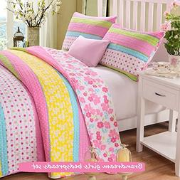 Brandream Full Queen Size Pink Polka Dot Stripe Floral Quilt