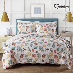 mixinni Twin Size 2 Pcs Quilt Bedspread Set Kids Beach Theme