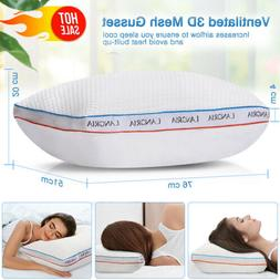 Fluffy Down Bed Pillow Breathable Ergonomic Orthopedic Neck